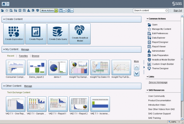 sas visual analytics home page
